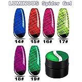 Ganmaov 6 Colores/Juego de Esmalte de uñas Que Brilla en la Oscuridad, Juego de Gel Luminoso, Kit de Arte de uñas UV para Esmalte de Bricolaje para Fiesta de Halloween