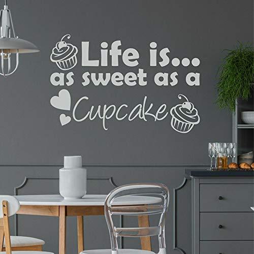 Pegatinas de pared la vida es tan dulce como un pastel Calcomanías de vinilo para pared cocina tienda de postres pastel panadería decoración de interiores