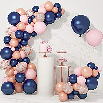 121 PCS Gender Reveal Party Supplies Rose Gold Navy Blue and Pink Latex Confetti Pearlescent Balloons Garland Arch Kit for Birthday Party Baby Shower Decorations