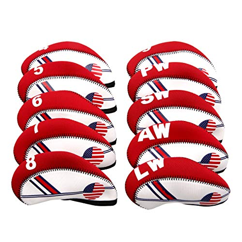 MamimamiH GOLF - Juego de fundas para cabezas de palos de golf (neopreno, 10 unidades), diseño de bandera de Estados Unidos, color azul y blanco