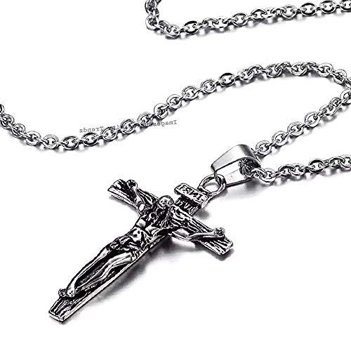 University Trendz Stainless Steel Antique Cross Pendant Jesus Necklace for Boys & Men (Silver)