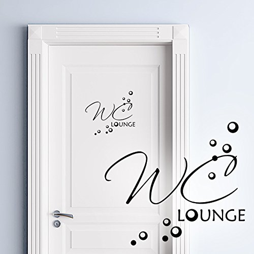 Wandora Türaufkleber WC Lounge I Silbergrau (BxH) 19 x 16 cm I Toilette Badezimmer Klo Aufkleber Sticker Wandaufkleber Wandsticker Wandtattoo Bad W1396