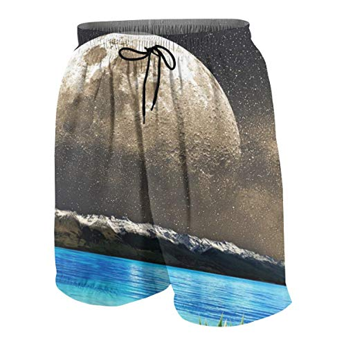 Boys Teens Beach Shorts Swim Trunks Aloe Vera Moon Beach Quick Dry Waterproof Surfing Beach Shorts with Pockets