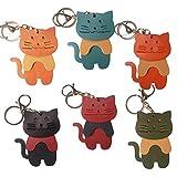 3分割 猫キーホルダー 本革 バッグチャーム イタリア製牛革 ハンドメード 猫キーリング (ミント)