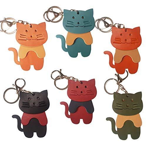 3分割 猫キーホルダー 本革 バッグチャーム イタリア製牛革 ハンドメード 猫キーリング/誕生日 プレゼント ギフトボックス付き (オレンジ)