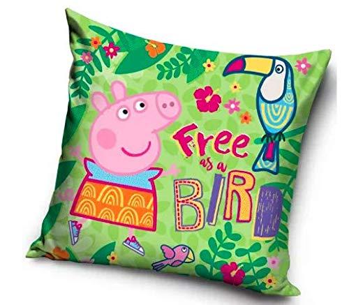 "Carbotex - Funda de cojín Peppa Pig (40 x 40 cm), diseño con texto ""Free as a Bird"""