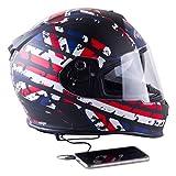 Viper Helmets - Casco Integrale da Moto RSV8 Stereo, Unione Jack, 53-54 cm