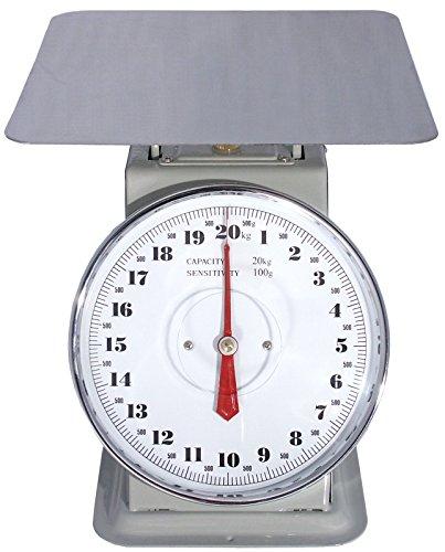 Küchenwaage mit grau lackiertem Stahlgehäuse, Wägeplattform aus Edelstahl 18/10, Nutzlast bis 20 kg, skaliert in 100 g-Schritten, Auflagefläche: 23 x 23 cm | ERK