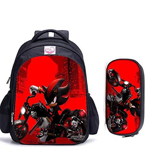 Mochila de anime 2 unids/set mochilas escolares con estampado de Sonic the Hedgehog para adolescentes, niñas, niños, mochila escolar de dibujos animados, mochilas para estudiantes