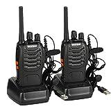 BaoFeng BF-88E Talkie-walkie Rechargeable PMR 446 sans Licence 16 Canaux avec Casque(2 pcs)