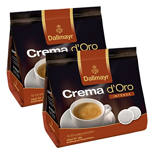 Dallmayr Crema dOro Intensa Kaffeepads, für alle Pad Maschinen, Röstkaffee, 32 Pads, á 7 g