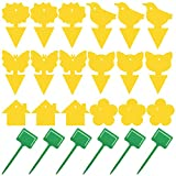 18 Pack Fruit Fly Trap Yellow Sticky Fungus Gnat Killer for Indoor and Outdoor Plant Insect Catcher for White Flies Mosquitos Fungus Gnats Flying Insects Houseplant Gift for Flower Lover (A24 18+6)