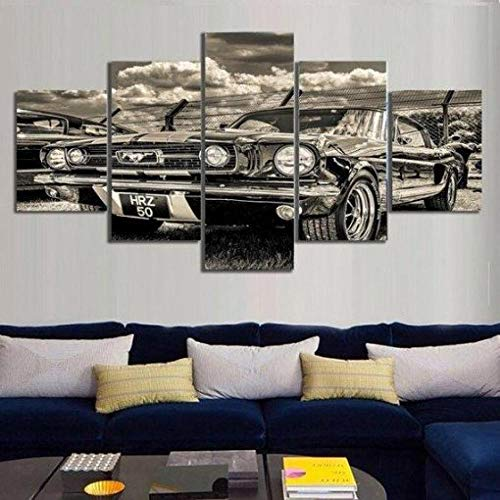 ELSFK Wall art canvas 5 Piece Wall Art Picture 1965 Mustang Prints On Canvas Pictures For Home Modern Decoration HD Print Decor For Living Room,bedroom etc wall Decoration 150cm x 80cm