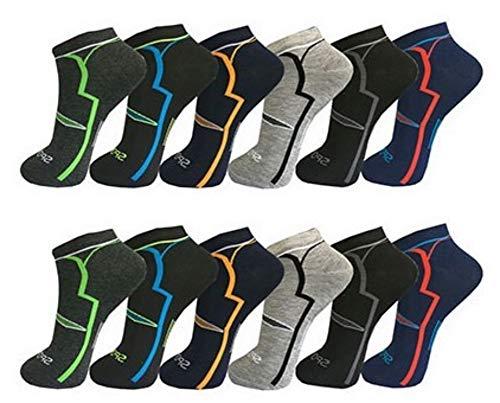 AlbTrade 12 Paar Damen Herren Sport Sneaker Socken Baumwolle (39-42, 12x Model 1)