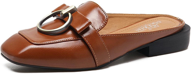 Ladola Womens Square Heels Bows Urethane Flats shoes