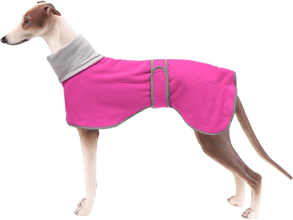 Geyecete - Abrigo con Forro Polar para Perro, con Bandas Ajustables, para Invierno Clima frío,Jersey con Agujero del arnés, para medianos y Grandes Perros Galgo-Rosa-M