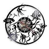 Nzlazbc Acuario Pecera Goldfish Vinilo LP Registro Reloj de Pared Decoración para el hogar Peces Tropicales Animales Marinos Gramófono Tallado Reloj de grabación de música