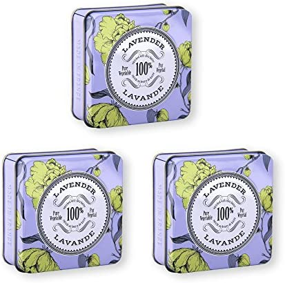 La Chatelaine French Lavender Soap in A Tin Value Pack by 3 Organic Shea Butter 100 Vegetable product image