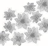 Naler 24 Flores Artificiales Decorativas Navidad Poinsettia Artificial de Purpurina Adorno de Árbol de Navidad (Plata, 8cm, 10cm, 15cm)