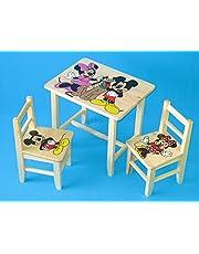 Juego de madera mesa con 2sillas para dormitorio infantil. M10. Otra idea de regalo.Completo de pino con dibujo a mano.