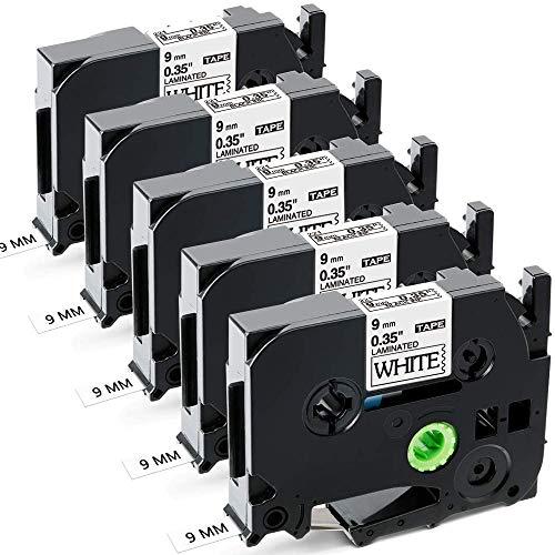 Aken kompatibel Schriftband als Ersatz für Brother TZe-221 TZe221 TZ-221 9mm beschriftungsband schwarz weiß, für Beschriftungsgerät Ptouch 1000 1010 1280 H105 H110 D400 D600 Cube, 5er Packung