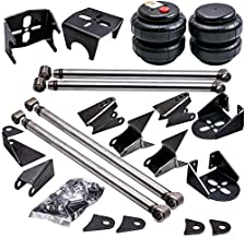 Waverspeed Universal Weld-On Triangulated 4 Link Suspension Kit with 2Pcs 2500 Air Spring Bags & Air Ride Suspension Rear Mounts Lift Kit