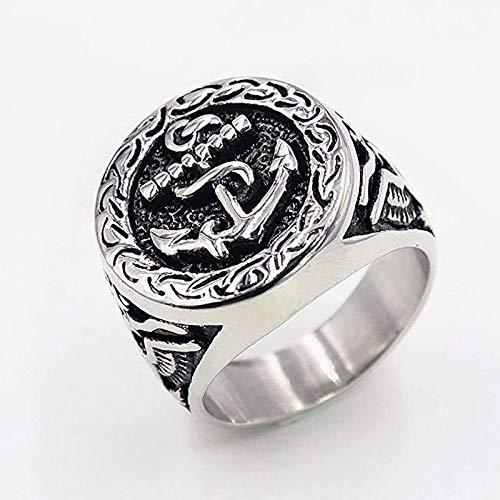 LH&BD Hombre Masonic Anchor Shape Big Ring Eagle Biker Banda Hip Hop Style Regalo Estilo Punk Joyería,C,10