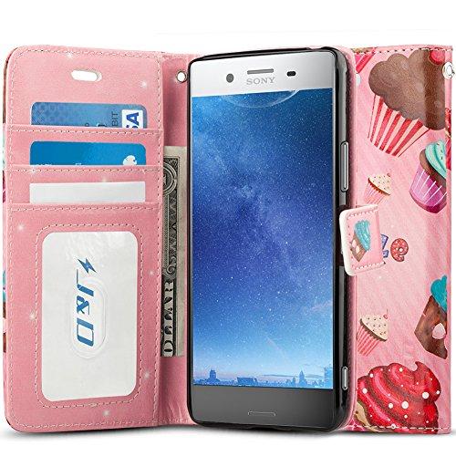 J&D Compatibile per Cover Xperia XZ Premium, [Portafoglio Stand] [Sottile Adatta] Protettiva Robusta Antiurta Flip Custodia per Sony Xperia XZ Premium - [Non per Sony Xperia XZ 6] - Cupcake