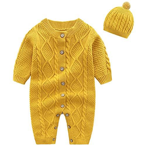 amropi Bebé Recién Nacido Niña Mono de Punto con Gorra Ropa de una Pieza Suéter Peleles Amarillo,3-6 Meses