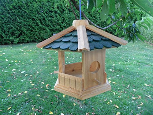 Robustes Vogelhaus aus Holz Vogelhäuschen Futterhaus XL Futterhäuschen deko (Dach grün)