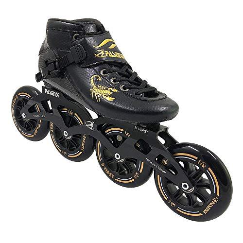 PASENDI Professional Carbon Fiber Speed Skates Adult Men's and Women's Skates 4-Wheels Single-Row Roller Skates Shoes Black Inline Skate Shoes (Black, US9/EU42)