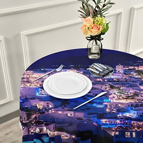 FANTAZIO geweldig Griekse Santorini nacht ronde tafelkleed tafelkleed wasbaar polyester geweldig voor buffet tafel, feesten, vakantie diner