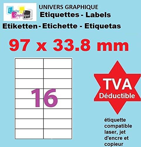 100 A4-Blatt 16 Aufkleber 105 x 33,8 mm Aufkleber Etikettendrucker für Tintenstrahl- und Laserpapier