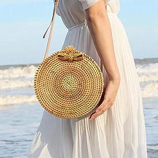 PAWACA Handwoven Round Rattan Bag Straw Bag For Women Shoulder Leather Straps Natural Chic Bag