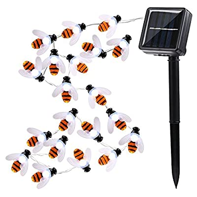 AMZSTAR Honey Bee String Lights, Outdoor Waterproof Solar Decoration Lights 30LED Bumble Bee Fairy Rope Lights for Summer Garden Patio Tree Party