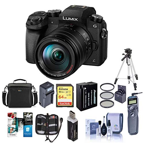Panasonic Lumix DMC-G7 Mirrorless Micro 4/3S Digital Camera with Vario 14-140mm f/3.5-5.6 Lens, Black - Bundle with Camera Case, 64GB SDXC Card, Spare Battery, Tripod, Remote Shutter Release, And More