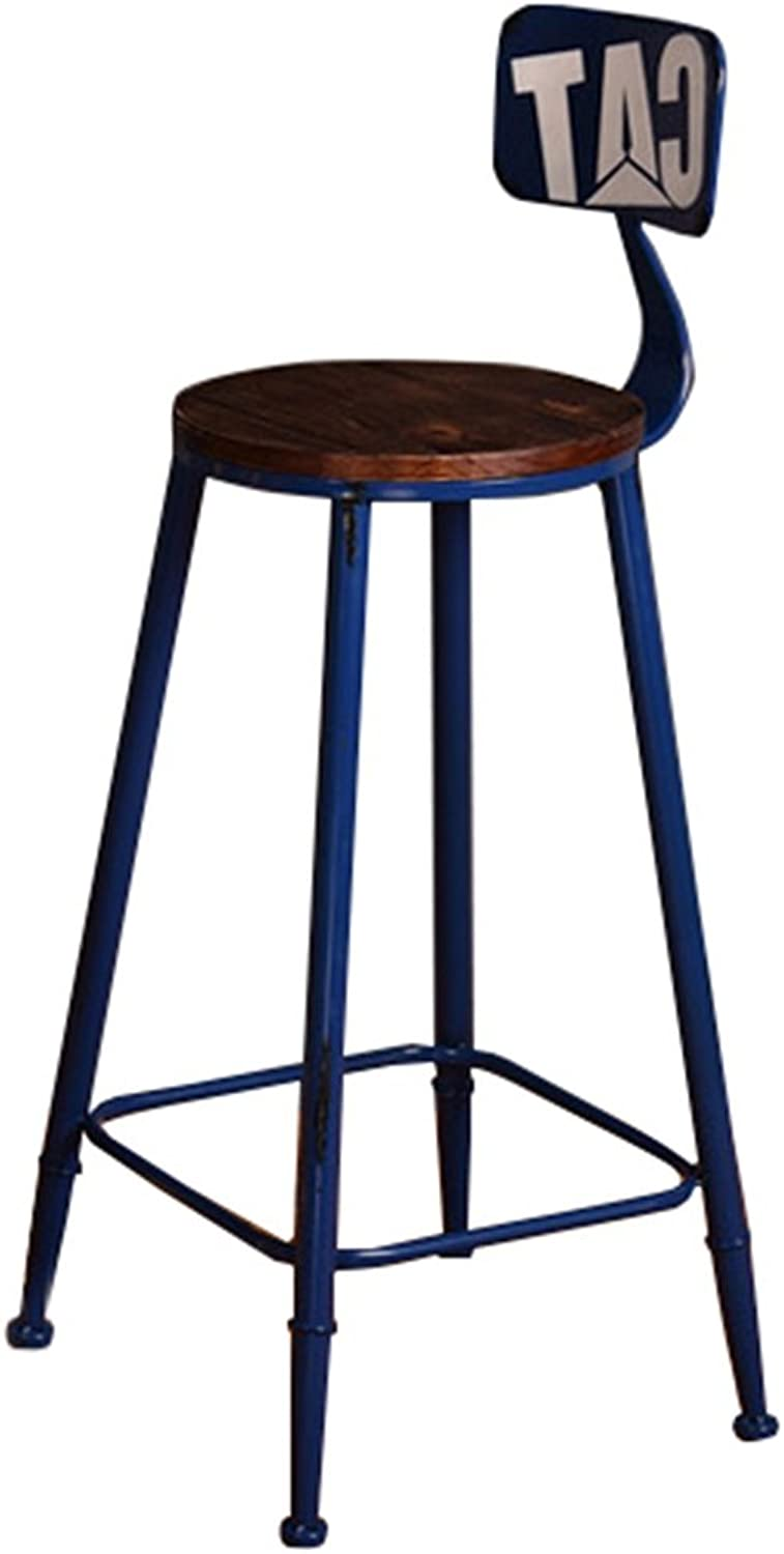 High Stool Bar Kitchens Dining Chair Breakfast Stool   Barstool Leisure Seat Vintage Bar Stool Retro Industrial Design (Multi-Size) (color   bluee, Size   65CM)