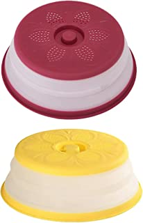 SOLUSTRE 2pcs Vented Collapsible Microwave Splatter Cover for Food Microwavable Guard Lid for Plate Dish Containers Draine...