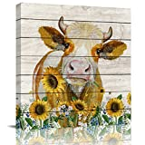 applebless Oil Painting on Canvas Cattle Cow Hold Sunflowers Wall Art Home Decor Rustic Wooden Vintage Farm Animal Modern Pictures Painting for Living Room, Ready to Hang - 16x16 inches