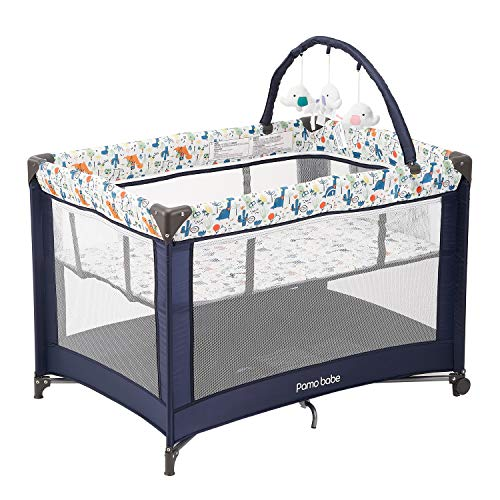 Pamo Babe Comfortable PlayardSturdy Play Yard with Mattress and Toys deep Blue