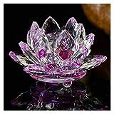 SMchwbc 80mm Cristal de Quartz Fleur de Lotus Artisanat Verre Paperweight Fengshui Ornements Figurines Accueil Décor de soirée de Mariage Cadeaux Souvenir (Color : Purple, Size : 80mm)