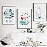 Simple Fish Sea Sailboat A4 A3 A2 Canvas Art Painting Prints Poster Set Picture Wall Living Room Dormitorio Decoración del hogar Murales (40x60cmx3 / sin Marco)