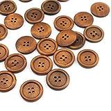 SiAura Material ® - 50x Runde Holzknöpfe, Kaffeebraun, 25 mm, 4 Löcher