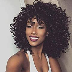 ❤Wig Material: Made of high quality heat resistant fiber hair,which is durable, breathable, soft and natural. ❤Elegance Style:Short kinky curly wig,Weight:199g,Color:Jet Black ❤Wig Type: Natural looking suits for daily, party, fancy dress, Celebrity,...