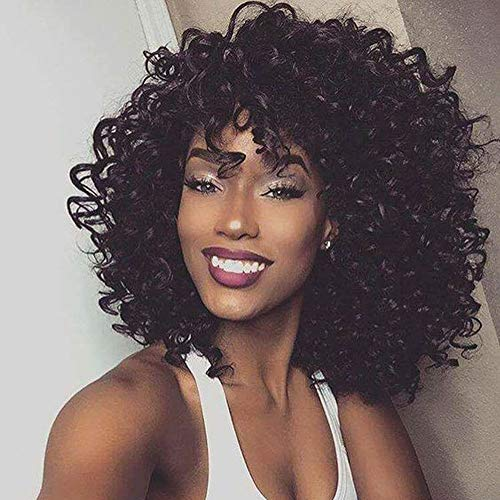N&T Short Black Kinky Curly Wigs for Black Women Fluffy Wavy Synthetic Afro Curly Hair Wig with Bangs for Women Holiday Gifts Daily for Women