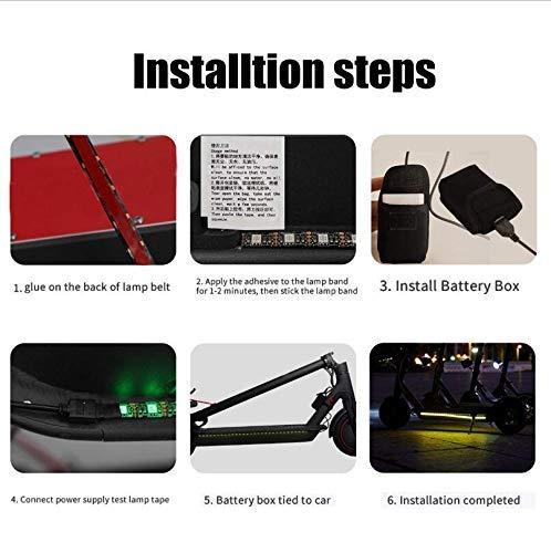 Linghuang Roller Warnung LED Streifen Taschenlampe Lampe Nacht Licht Radfahren Sicherheit Vorsicht Dauerblinklicht für Xiaomi Mijia M365 M187 Kickscooter Roller Teile Zubehör - 6
