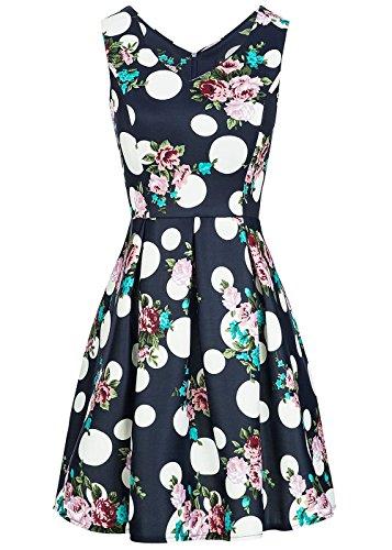 Styleboom Fashion® Damen Mini Kleid Blumen & Punkte Muster Brustpads Sommerkleid Navy blau Weiss rosa, Gr:S