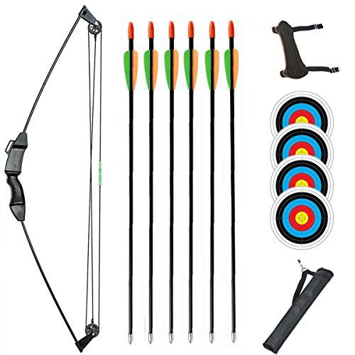 TOPARCHERY Junior Compound Bow Archery Bow and Arrow Set 8 Lb Archery Beginner Gift with Fiberglass Arrows for Teen Kids Children (Black-Type 5)