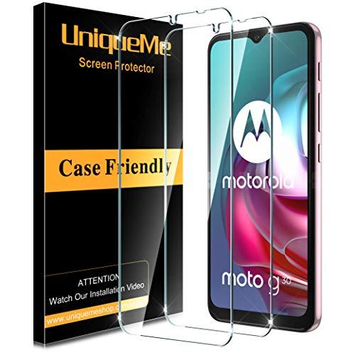 [2 PACK]UniqueMe Protector de Pantalla Compatible con Motorola Moto G10/G30/G10 Power/E7 Power/G9 Play/G Play 2021 Cristal Templado, [Sin burbujas] [Dureza 9H] HD Vidrio Templado