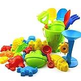 Firoya 25 Stück Bunt Strand Spielzeug Sand Eimer Set Sandkasten Spielzeug Sand Schloss Set fur kinder Dusche,Tier,Schaufel,Gabel,Fass,Schloss